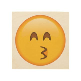 Embrassant le visage avec les yeux de sourire - impression sur bois