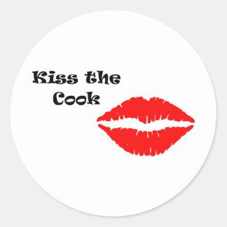 Embrassez le cuisinier grand sticker rond
