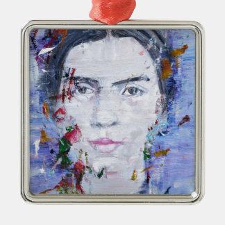 Emily dickinson - huile portrait.1 ornement carré argenté
