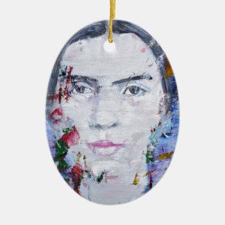 Emily dickinson - huile portrait.1 ornement ovale en céramique