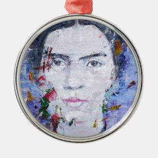 Emily dickinson - huile portrait.1 ornement rond argenté