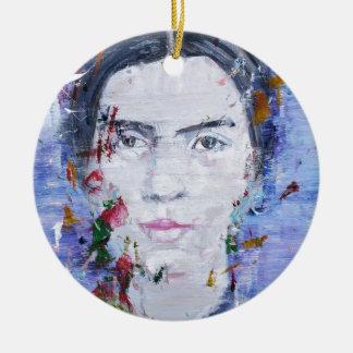 Emily dickinson - huile portrait.1 ornement rond en céramique