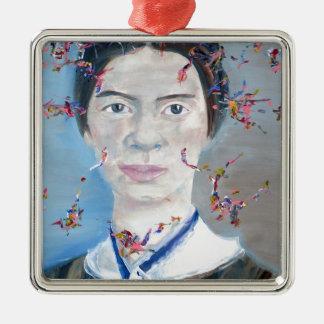 Emily dickinson - huile portrait.2 ornement carré argenté