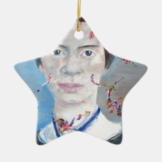 Emily dickinson - huile portrait.2 ornement étoile en céramique
