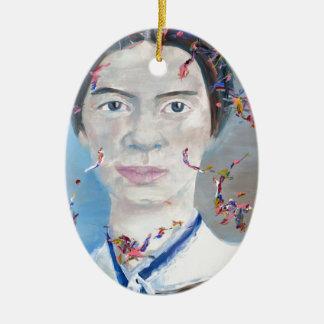 Emily dickinson - huile portrait.2 ornement ovale en céramique