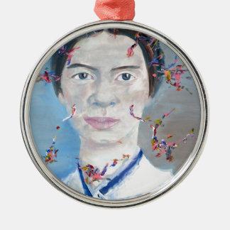 Emily dickinson - huile portrait.2 ornement rond argenté