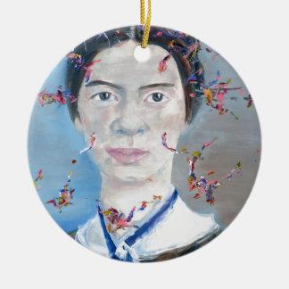 Emily dickinson - huile portrait.2 ornement rond en céramique