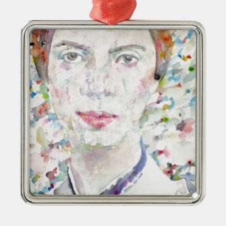 Emily dickinson - portrait d'aquarelle ornement carré argenté