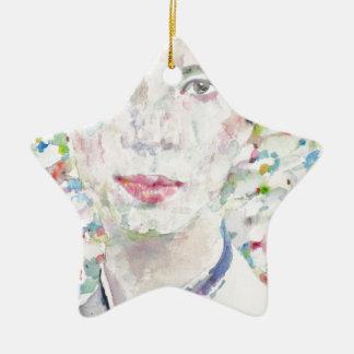 Emily dickinson - portrait d'aquarelle ornement étoile en céramique