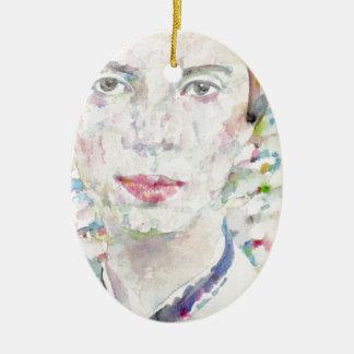 Emily dickinson - portrait d'aquarelle ornement ovale en céramique