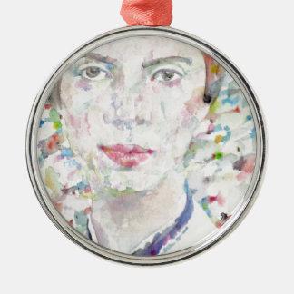 Emily dickinson - portrait d'aquarelle ornement rond argenté