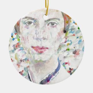 Emily dickinson - portrait d'aquarelle ornement rond en céramique