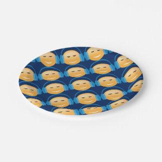 Emoji avec des écouteurs assiettes en papier