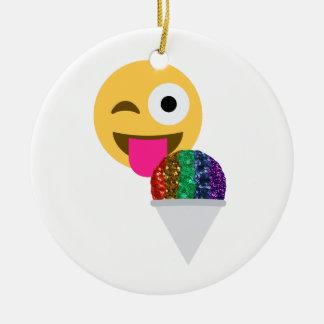 emoji de clin d'oeil de scintillement ornement rond en céramique