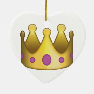 Emoji de couronne ornement cœur en céramique
