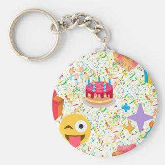 emoji de joyeux anniversaire porte-clé rond
