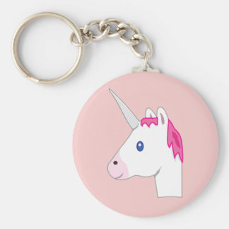 Emoji de licorne porte-clé rond