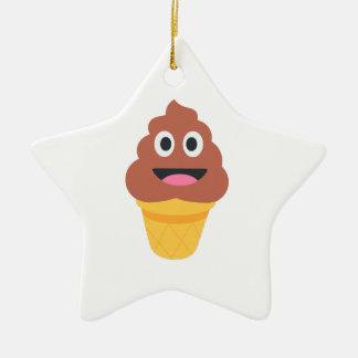 emoji de poo de cornet de crème glacée ornement étoile en céramique
