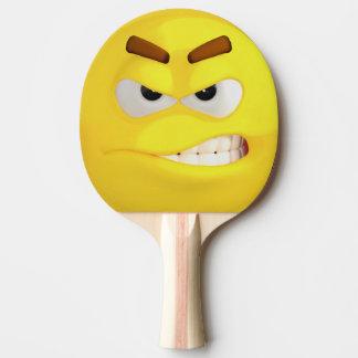 Emoji jaune fâché raquette tennis de table