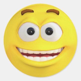 Emoji jaune heureux sticker rond