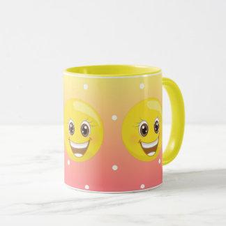 Emoji jaune heureux superbe pointille la tasse