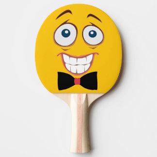 Emoji jaune inquiété raquette de ping pong