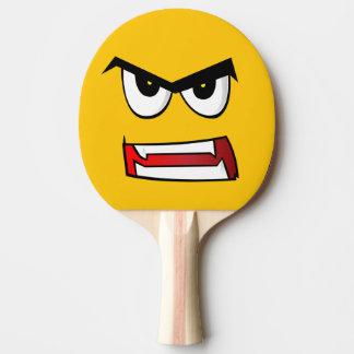 Emoji jaune vraiment fâché raquette de ping pong