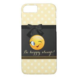 Emoji souriant clignotant adorable font face, pois coque iPhone 7