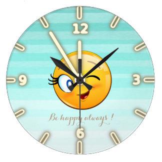 Emoji souriant clignotant adorable Visage-Est Grande Horloge Ronde
