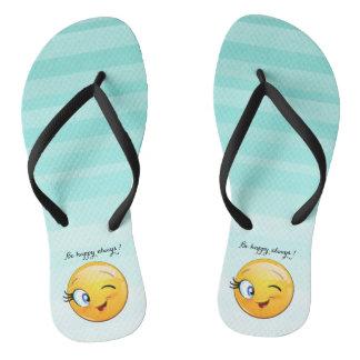 Emoji souriant clignotant adorable Visage-Est Tongs