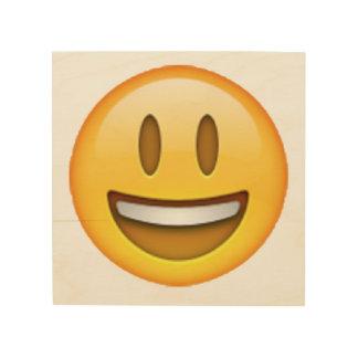 Emoji - yeux ouverts de sourire décoration murale sur bois