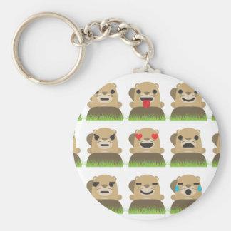 emojis de groundhog porte-clé rond