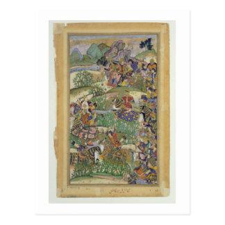 Empereur Akbar (r.1556-1605) à la bataille de Carte Postale