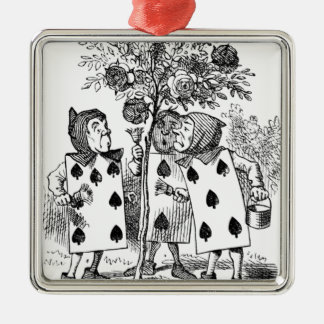 Employés de carte de jeu ornement carré argenté