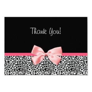 Empreinte de léopard à la mode et Merci rose de Carton D'invitation 8,89 Cm X 12,70 Cm