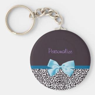 Empreinte de léopard à la mode et ruban bleu avec porte-clé rond