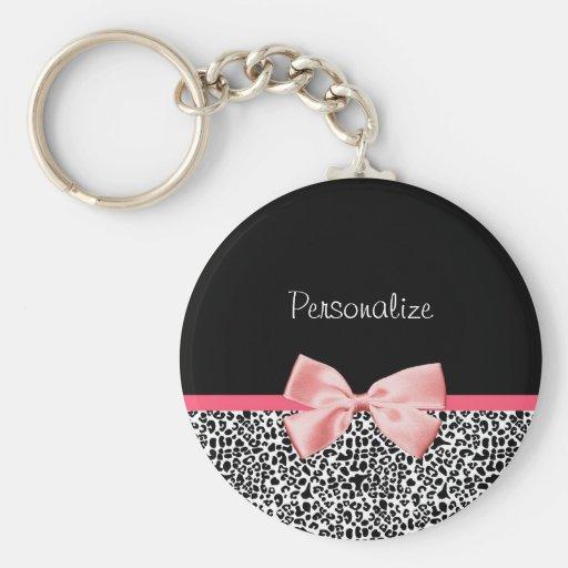 Empreinte de léopard à la mode et ruban rose avec porte-clefs
