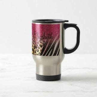 Empreinte de léopard à la mode girly mug de voyage