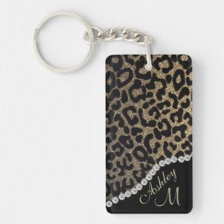 Empreinte de léopard avec le monogramme de porte-clé rectangulaire en acrylique double face