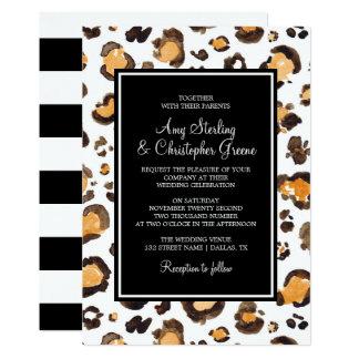 Empreinte de léopard d'aquarelle et rayures chics carton d'invitation  12,7 cm x 17,78 cm