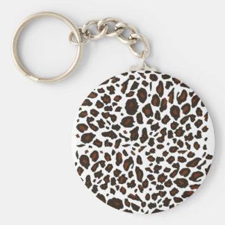 Empreinte de léopard de neige porte-clé rond