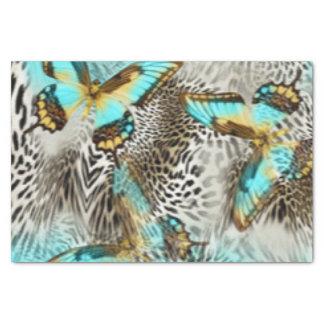 Empreinte de léopard et papillons de Teal Papier Mousseline