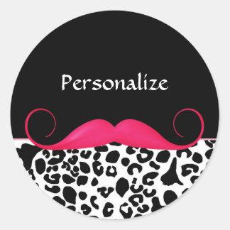Empreinte de léopard Girly de moustache rose à la Autocollants Ronds