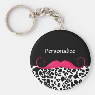 Empreinte de léopard Girly de moustache rose à la Porte-clé