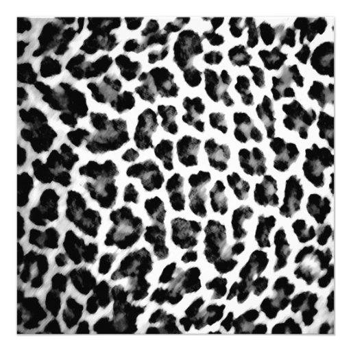 empreinte de l opard noir et blanc carton d 39 invitation 13 33 cm zazzle. Black Bedroom Furniture Sets. Home Design Ideas