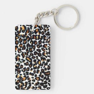 Empreinte de léopard porte-clé rectangulaire en acrylique double face