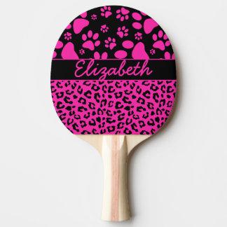 Empreinte de léopard rose et noir et pattes raquette tennis de table