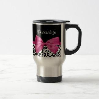 Empreinte de léopard rose foncé vivace de ruban mug de voyage