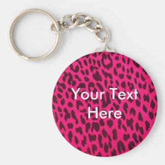 Empreinte de léopard rose simple Keychain Porte-clé