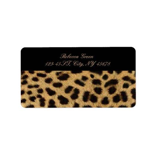 empreinte de léopard tribal d'animal de safari de étiquette d'adresse